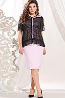 Женский осенний льняной большого размера комплект с платьем Vittoria Queen 13593 52р.