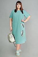 Женское осеннее бирюзовое большого размера платье Algranda by Новелла Шарм А3677 60р.