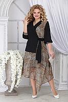 Женское осеннее шифоновое нарядное большого размера платье Ninele 5821 леопард 48р.