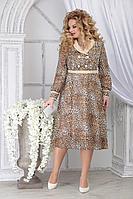 Женское осеннее шифоновое нарядное большого размера платье Ninele 7312 леопард 48р.
