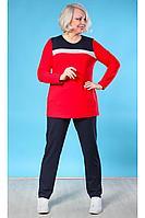 Женский осенний трикотажный красный спортивный большого размера спортивный костюм Camelia 19172 2 52р.