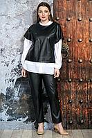 Женский осенний кожаный черный брючный комплект Белтрикотаж 4325 черный 48р.