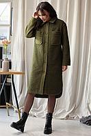 Женское осеннее трикотажное зеленое платье Мода Юрс 2633 хаки 46р.