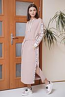 Женское осеннее трикотажное розовое платье Fantazia Mod 3879 44р.