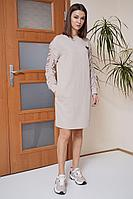 Женское осеннее трикотажное розовое платье Fantazia Mod 3860 44р.