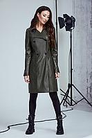 Женское осеннее кожаное зеленое платье Andrea Fashion AF-100 хаки 42р.