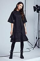Женское осеннее хлопковое черное платье Andrea Fashion AF-101 черный 42р.