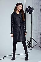 Женское осеннее кожаное черное платье Andrea Fashion AF-100 черный 42р.