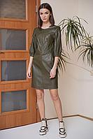 Женское осеннее кожаное зеленое платье Fantazia Mod 3760/1 42р.