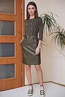 Женское осеннее кожаное зеленое платье Fantazia Mod 3757/1 46р.