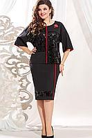 Женское осеннее шифоновое черное нарядное большого размера платье Vittoria Queen 13303/1 52р.