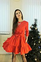 Женское осеннее хлопковое красное нарядное платье Lady Smile 1017-6 красный 42р.