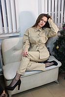 Женские осенние хлопковые бежевые брюки Lady Smile 01б беж 42р.