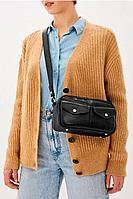 Женская осенняя кожаная черная сумка Igermann 19С915 КЧ6 без размерар.