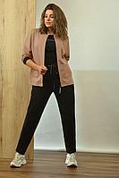 Женский осенний трикотажный спортивный спортивный костюм Angelina 597 пудра-черный 46р.