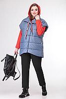 Женская осенняя трикотажная спортивное брюки и жилет и худи Deluizn 904 светло-синий_черный+красный 44р.