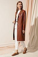 Женский осенний кожаный коричневый плащ Nova Line 10169 рыжий 42р.