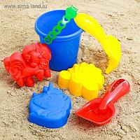 Набор для игры в песке №44: ведёрко, 3 формочки, грабельки, лопатка, МИКС