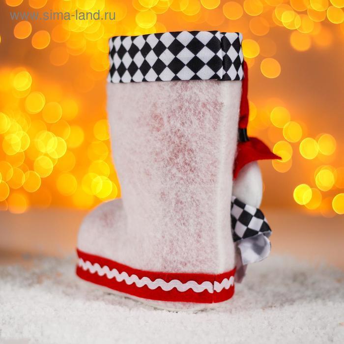 Конфетница «Сапожок», с объёмным снеговичком в шляпе, вместимость 400 г, цвет белый - фото 2