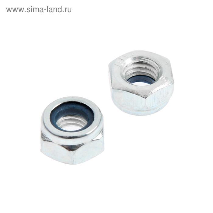 "Гайка ""ЗУБР"", DIN 985 с нейлоновым кольцом, кл. пр. 6, цинк, M6, 16 шт. - фото 1"