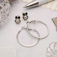 """Серьги-кольца с пуссетами """"Сова"""", цвет серебро, d=2,5 см"""