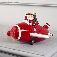 """Фигура световая """"Новогодний самолет с Дедом Морозом"""", 11 LED, крутящийся пропеллер, ААА*3"""