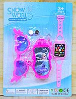 Упаковка повреждена!!! 858-6 Snow World холодное сердце очки,телефон,часы на картонке,23*17см