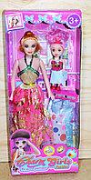 Упаковка помята!!! 518 Кукла Charm Girl с девочкой 2 платья 33*14см