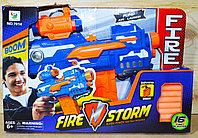 Упаковка помята!!! 7014 Бластер 16патронов Fire storm на батарейках 41*27см, фото 1