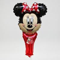 Фольгированный шар, Минни Маус, на палочке, 15', МИКС