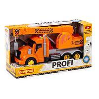 Профи автомобиль-кран инерционный со светом и звуком оранжевый в коробке