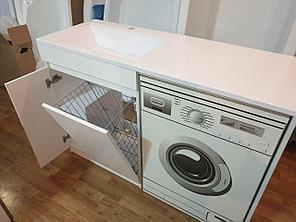 Раковина с тумбой (с корзиной) и столешницей Космос (ЛМДФ) левая 130  см. над стиральной машиной. РФ, фото 2