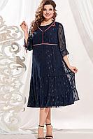 Женское осеннее синее нарядное большого размера платье Vittoria Queen 13393 54р.
