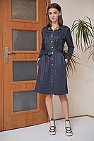 Женское осеннее трикотажное синее большого размера платье Fantazia Mod 3651 горчичная_вставка 48р.