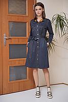 Женское осеннее трикотажное синее большого размера платье Fantazia Mod 3651 горчичная_вставка 52р.