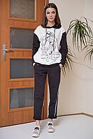Женский осенний трикотажный спортивный большого размера спортивный костюм Fantazia Mod 3528/1 50р.