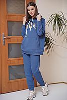 Женский осенний трикотажный синий спортивный спортивный костюм Fantazia Mod 3768/1 48р.