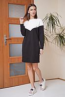 Женское осеннее трикотажное черное платье Fantazia Mod 3862 черный 52р.