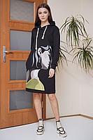 Женское осеннее трикотажное черное платье Fantazia Mod 3808 52р.