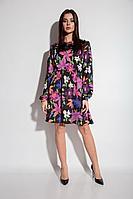 Женское осеннее платье Michel chic 2044 черный+розовый 46р.
