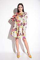 Женское осеннее платье Michel chic 2044 цветочки 46р.