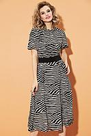 Женское осеннее шифоновое платье DiLiaFashion 0451 мультиколор 48р.