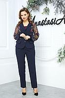 Женский осенний кружевной синий нарядный большого размера брючный костюм Anastasia 544 синий 50р.