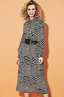Женское осеннее шифоновое платье DiLiaFashion 0469 зебра 46р.