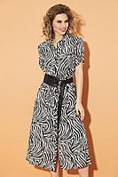 Женское осеннее шифоновое платье DiLiaFashion 0474 зебра 46р.