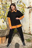 Женский осенний трикотажный спортивный большого размера спортивный костюм Runella 1441 оранжевый 50р.