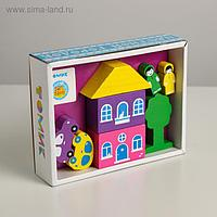 Деревянный конструктор «Цветной городок» фиолетовый, 8 деталей, Томик
