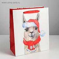 Пакет ламинированный вертикальный «Новогодняя лама», ML 23 × 27 × 11,5 см