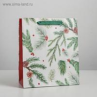 Пакет ламинированный вертикальный «Еловые веточки», ML 23 × 27 × 11,5 см