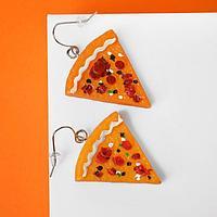 """Серьги пластик """"Вкусности"""" пицца, цвет оранжево-красный"""